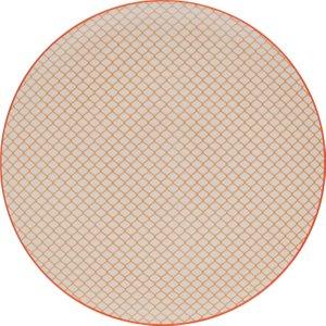 Habitat Brookland Orange Pattern Dinner Plate D27cm, Orange And White, Orange And White