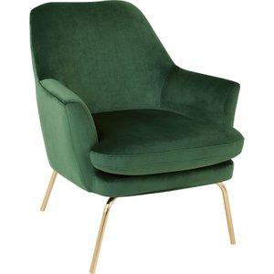Habitat Celine Green Velvet Armchair With Brass Legs, Green, Green