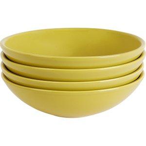 Habitat Couleur Set Of 4 Yellow Pasta Bowl D23cm, Yellow, Yellow