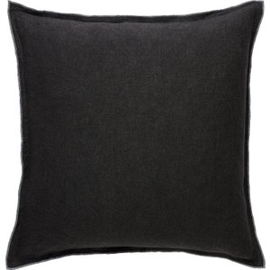 Habitat Dahlia Charcoal Grey Linen Cushion With Overlocked Edge 50 X 50cm, Grey, Grey