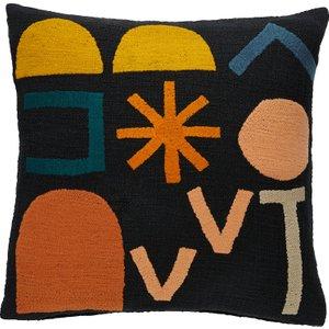 Habitat Diaz Multi-coloured Symbols Cushion 45 X 45cm, Multi-coloured, Multi-Coloured