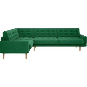 Habitat Fenner Green Velvet Right-hand 4 Seater Corner Sofa, Green, Green