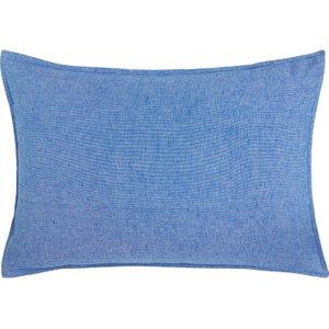 Habitat Fil A Fil Blue Cotton Linen Rectangular Pair Of Pillowcases, Blue, Blue