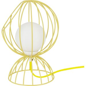 Habitat Finchley Metal And Glass Table Lamp Yellow, Yellow/white