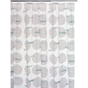 Habitat Fish Grey And Blue Patterned Shower Curtain, Grey, Grey