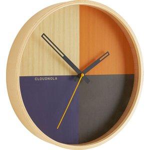 Habitat Flor Blue/multi-coloured Wood Wall Clock, Blue, Blue
