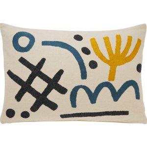 Habitat Gino White Embrodiered Symbols Cushion 40 X 60cm, Multi-coloured, Multi-Coloured
