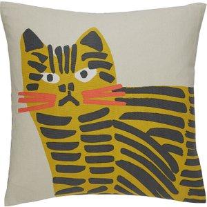 Habitat Grumpy Cat Grey And Yellow Cat Character Printed Cushion 45 X 45cm, Grey, Grey