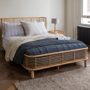 Habitat Double Bed With  Mattress And 2 Bedsides Rattan Nadia, Rattan