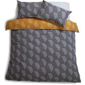 Habitat Industrial Geo Reversible Bedding Set - Kingsize, Grey, Grey