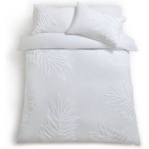 Habitat Tufted Leaf Reversible Bedding Set - Kingsize, White, White