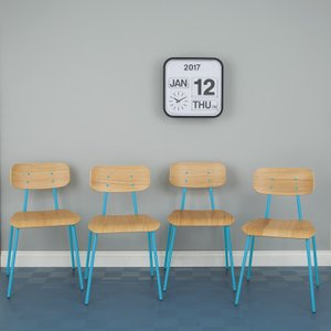 Habitat Hester Set Of 4 Blue Stackable Dining Chairs, Blue, Blue