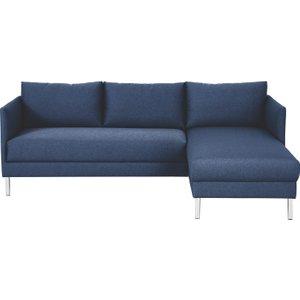 Habitat Hyde Blue Fabric Right-arm Chaise Sofa, Metal Legs, Blue, Blue