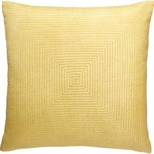 Habitat Indy Pale Saffron Yellow Grid-stitched Silk Cushion 40 X 40cm, Yellow, Yellow