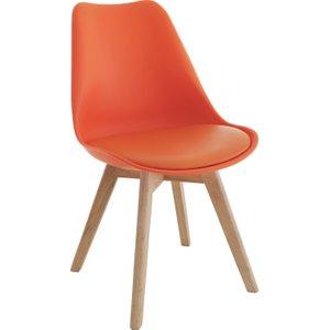 Habitat Jerry Orange Dining Chair With Solid Oak Legs, Orange, Orange