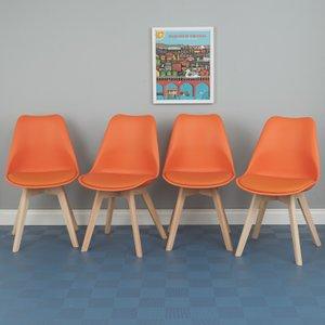 Habitat Jerry Set Of 4 Orange Dining Chairs, Orange, Orange