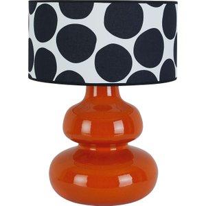 Habitat Lantana Orange Curvy Ceramic Table Lamp With Patterned Shade, Orange/black, Orange/Black