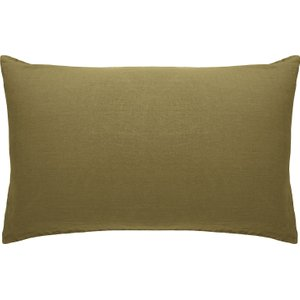 Habitat Linen Olive Green Khaki Linen Rectangular Pair Of Pillowcases, Olive Green, Olive Green