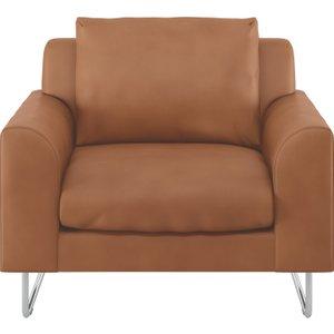 Habitat Lyle Tan Premium Leather Armchair, Tan, Tan