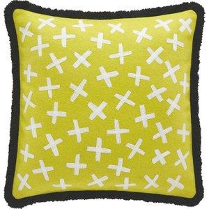 Habitat Mari Yellow Embroidered Wool Cushion With Fringing 50 X 50cm, Saffron Yellow, Saffron Yellow