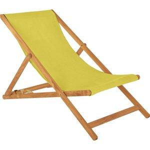 Habitat Maui Solid Oak Deckchair With Saffron Yellow Cotton Sling, Saffron, Saffron