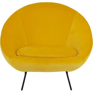 Habitat Misty Yellow Velvet Armchair, Yellow, Yellow