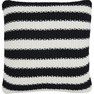 Habitat Paloma Stripe Black And White Stripe Knitted Cotton Cushion 45 X 45cm, Black And White, Black And White