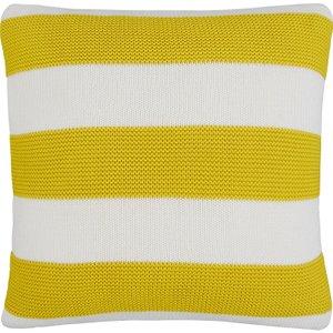 Habitat Paloma Stripe Yellow Stripe Knitted Cotton Cushion 45 X 45cm, Yellow, Yellow