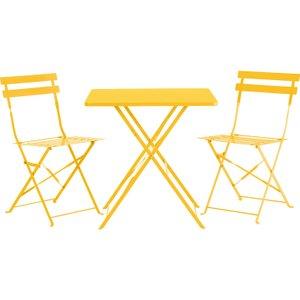 Habitat Parc Yellow Metal Folding Garden Table And 2 Chairs Set, Yellow, Yellow