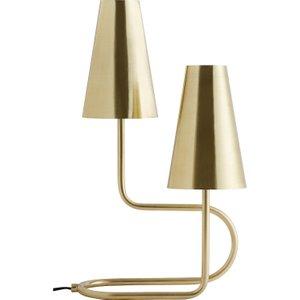 Habitat Perie 2 Headed Brass Metal Table Lamp, Brass