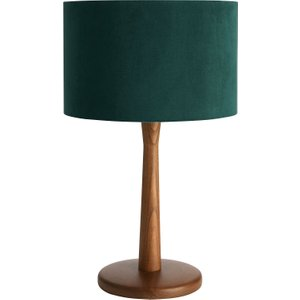 Habitat Pip Walnut Wooden Table Lamp And Green Velvet Shade, Walnut Stained
