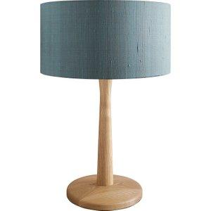 Habitat Pole Oak Wooden Table Lamp With Green Silk Shade, Natural