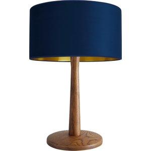 Habitat Pole Walnut Stained Oak Table Lamp With Navy Blue Tambor Shade, Walnut/blue, Walnut/Blue