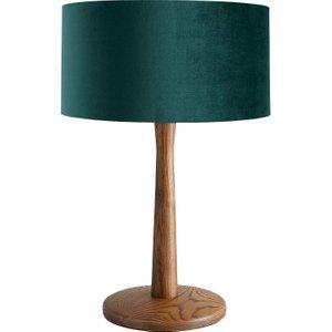 Habitat Pole Walnut Wooden Table Lamp With Green Velvet Shade, Walnut