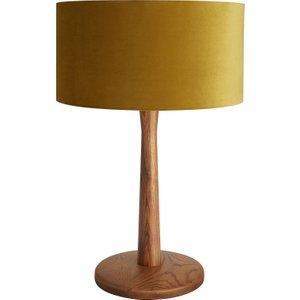 Habitat Pole Walnut Wooden Table Lamp With Olive Velvet Shade, Walnut
