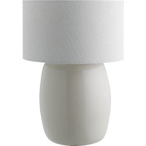 Habitat Popp Linen Bamboo Table Lamp With Fabric Shade, Linen And White, Linen And White