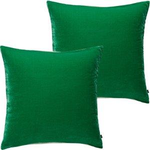 Habitat Regency Set Of Two Green Velvet Cushions 45 X 45cm, Green, Green