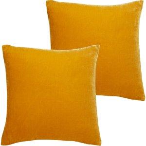 Habitat Regency Set Of Two Mustard Yellow Velvet Cushions 45 X 45cm, Yellow, Yellow
