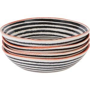 Habitat Savona Black And Orange Set Of 4 Pasta Bowls, Multicolour, Multicolour
