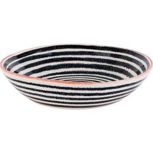 Habitat Savona Black And Orange Stripe Pasta Bowl, Multicolour, Multicolour