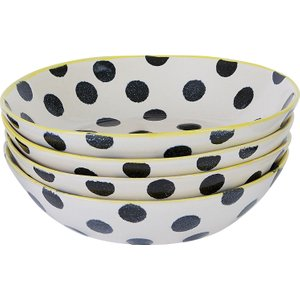 Habitat Savona Black And White Spotty Set Of 4 Pasta Bowls, Multicolour, Multicolour