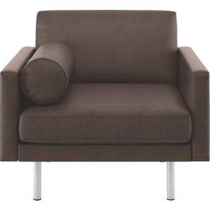 Habitat Spencer Chocolate Brown Luxury Leather Armchair, Metal Legs, Dark Brown, Dark Brown