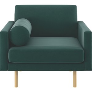 Habitat Spencer Emerald Green Velvet Armchair, Oak Legs, Green, Green