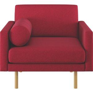 Habitat Spencer Red Wool Armchair, Oak Legs, Red, Red