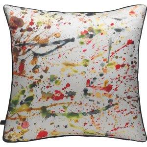 Habitat Splatter Multi-coloured Splatter Printed Silk Cushion 50x50cm, Multi-coloured, Multi-Coloured