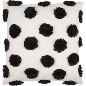 Habitat Spot Black And White Spot Tufted Cushion 50 X 50cm, Black And White, Black And White