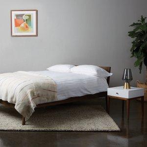 Habitat Tatsuma Walnut Double Bed, Coen Mattress And 2 Bedsides, White And Walnut