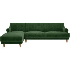 Habitat Townsend Moss Green Velvet Left Arm 4 Seater Chaise Sofa, Moss Green, Moss Green