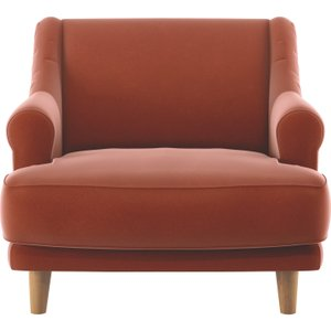 Habitat Townsend Orange Velvet Armchair With Wooden Legs, Orange, Orange