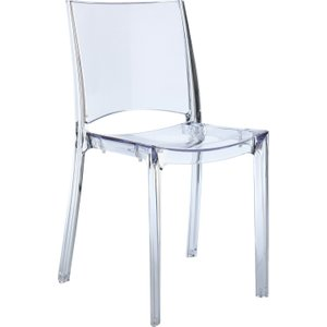 Habitat Verne Clear Plastic Stackable Dining Chair, Clear, Clear